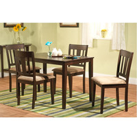 Espresso Finish Table & 4 Dining Chairs with Brown Microsuede Seats