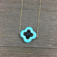 14k gold filled round black lava rock bead turquoise clover necklace / bridesmaid necklace / minimalist / dainty / essential oil diffuser