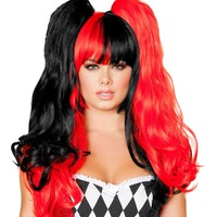 Women Black and Red Harley Quinn Jester Costume Wig for Halloween Costume