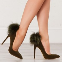 Fur Detail Pumps in Olive and Nude