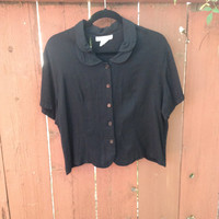 90s Plus Size Black Twee Soft Grunge Double Peter Pan Collared Button Down Blouse