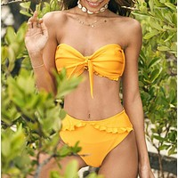 Summer New Fashion Solid Color Knot Strapless Two Piece Bikini Swimsuit Yellow