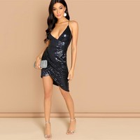 Navy Spaghetti Strap Plunging Neck Wrap Sequin Cami Short Slip Slim Bodycon Dress  Women Solid Arabian Dresses