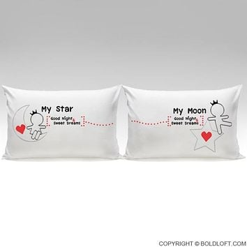 Love You All Night Long™ His & Hers Couple Pillowcase Set