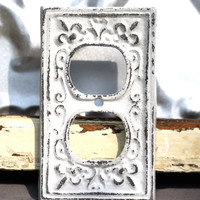 outlet cover/ cast iron fleur de lis/ white shabby chic outlet / light switch cover/ lighting/ cottage style lighting