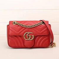 Gucci Popular Ladies Metal GG  Buckle Leather Satchel Shoulder Bag Crossbody Red I