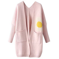 Cute Cartoon Print Long Sleeve Long Sweater Cardigan Coat