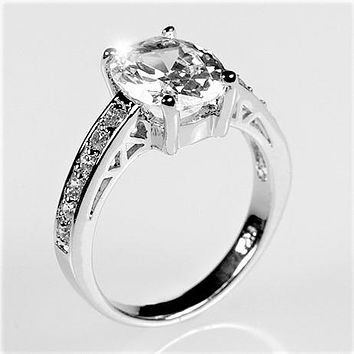 Evelina Oval Solitaire Engagement Ring | 3ct | Sterling Silver