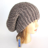 Beret hat - slouch hat - taupe hat for women - hand knit hat - chunky knit hat - fashion accessory - warm winter hat - wool knitted beanie