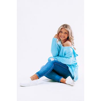 Anywhere You Go Sweater: Baby Blue