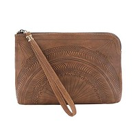 Leaders in Leather Moroccan Leather Wristlet Clutch