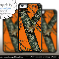 Orange Camo iPhone 5C 6 6 Plus Case Camo iPhone 5s 4 case Ipod Real Tree Personalized Country Inspired Girl Men