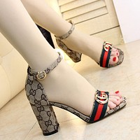 GUCCI Fashion Women High-Heeled Shoes Sexy Cloth Letter Print High Heels Chunky Heels