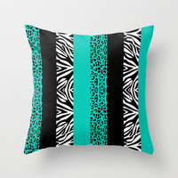 Teal Leopard and Zebra Animal Print  Throw Pillow by Cute to Boot
