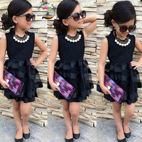 girls clothes 2015 Kids Girls Denim Jacket + scarf + leopard skirt 3 piece suit for children