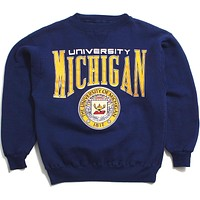 University of Michigan Big Arch & Seal Galt Sand Crewneck Sweatshirt Navy (Small)