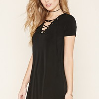 Lace-Up Crepe Dress | Forever 21 - 2000170863