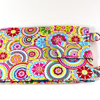 Women's Wallet Organizer with Card Slots - 2 in 1 - Bright and Colorful Circles and Flowers