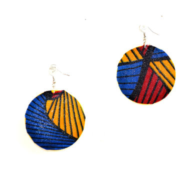 Red Blue And Yellow Fabric Cover Earrings African Jewelry