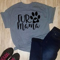 unisex Dog Paw Harajuku Gray Clothes Tee Fur Mama Letter Printed Funny T-Shirt Quality Cotton Top Ladies O-Neck Outfits Oversize