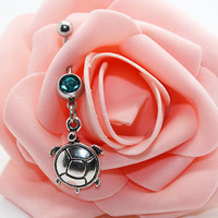 Belly button ring,Turtle belly ring,Turtle belly button jewelry,Lucky piercing jewelry