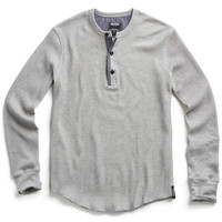 Long Sleeve Thermal Henley in Heather Grey