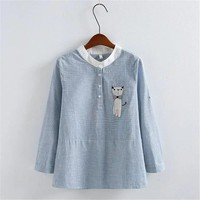 New Women Long Sleeve Striped Blouse Fashion Stand Collar Button Shirt Tops Female Embroidery Cat Print Slim Shirts 71863