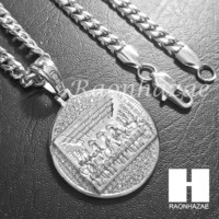 316L Stainless steel Silver Last Supper w/ 5mm Cuban Chain SG37