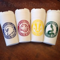 Hogwarts House Mascot 16oz white travel mug Ravenclaw Gryffindor Hufflepuff Slytherin coffee tea