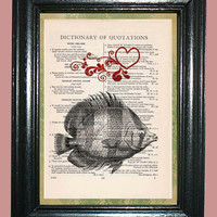 Sea Life Fish with Red Hearts - Upcycled Vintage Dictionary Page Book Art Collage Art Print on Dictionary Page, Fish Print