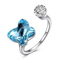 Blue Sapphire Butterfly Shaped Adjustable Ring