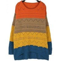 Candy Color Loose Orange Round Neck Knitting Women Free Size Sweater @A157o