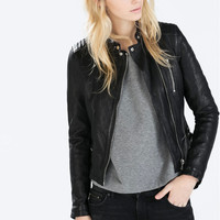Black Faux Leather Side Zipper Jacket