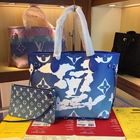 LV Louis Vuitton Hot Sale Women's Gradient Color Printed Letter Two-piece Shopping Shoulder Bag Diagonal Bag Blue