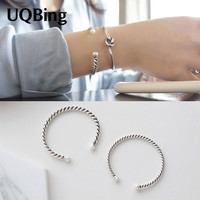 Fashion Beautiful 925 Sterling Silver Bangles Simulated Pearl Cuff Bangles & Bracelets Women Accessories Srebrna bransoletka-in Bangles from Jewelry & Accessories on Aliexpress.com | Alibaba Group