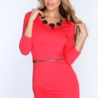Coral Short Sleeves Casual Dress