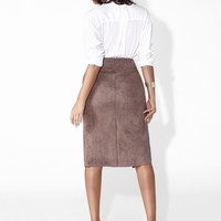 Concrete Suede Pencil Skirt
