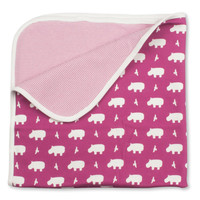 Hippo Blanket, Organic Cotton - Solid Raspberry
