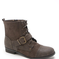 Black Poppy Short Buckle Front Lace Up Boots at PacSun.com
