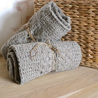 ORGANIC Linen Towel Massage Undyed Rustic Natural Pre-washed Eco Friend Wafer Towel