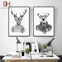 Hand draw Animals Canvas Art Print Poster,  Deer And Polar Bear Set Wall Pictures for Home Decoration, Giclee Wall Decor DE009