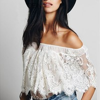 Off The Shoulder Top In Sheer Lace