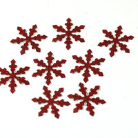 10, 20, 50, or 100 Red Glitter Snowflake Die Cuts 1 inch Cardstock Cut Outs - Princess Party Decorations, Frozen, Disney, Elsa