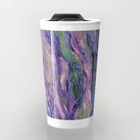 MARBLE IDEA! LAVENDER PINK PEACH Abstract Watercolor Painting Colorful Geological Nature Marbled Art Travel Mug by EbiEmporium