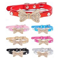 Adjustable Rhinestone Bow Dog Collar For Dogs Leashes Leash Collars Pet Puppy Cat Accessories XS S M Collars For Dogs