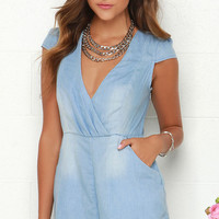 Mink Pink Somewhere in Time Blue Chambray Romper