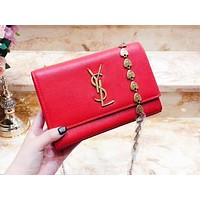 YSL hot seller of fashion casual ladies solid color accessories chain shopping single shoulder bag Red
