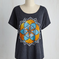Boho Mid-length Short Sleeves Meditation Station Top