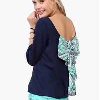 Waldorf Bow Blouse - Navy/Multi at Necessary Clothing