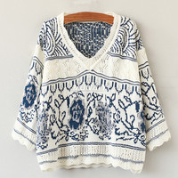 Blue Floral Pattern V-Neck Bell Sleeve Kitted Top and Shorts